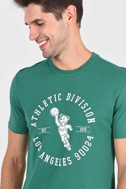 Ucla ADELANTO Yeşil Bisiklet Yaka Baskılı Erkek Tshirt