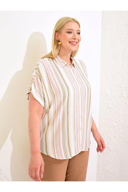 LC Waikiki Kadın Pembe Çizgili Gömlek