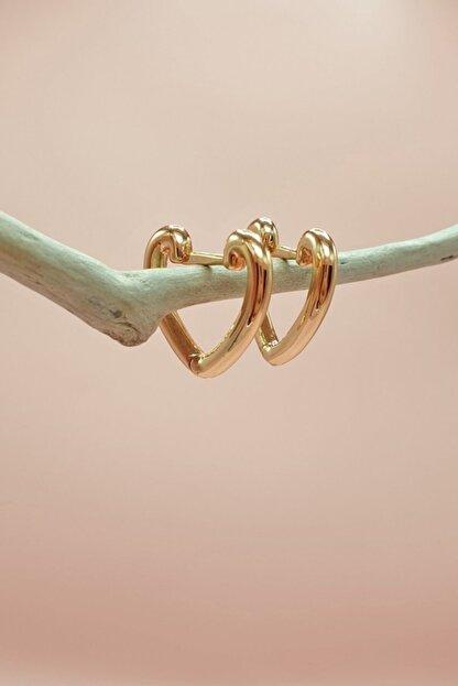 S&A Accessories Kalp Şekilli Halka Küpe Gold