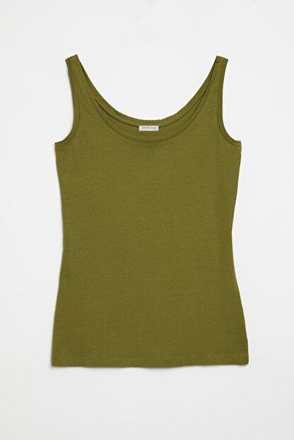 GRIMELANGE CLAIRE Kadın Yeşil Dar Kesim Kolsuz  T-Shirt