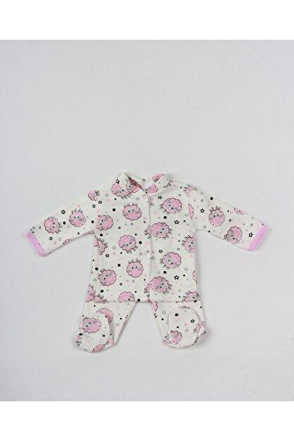 MG MİNİ GİYİM Kız Bebek Pembe Kuzulu Ayaklı Zıbın Takım