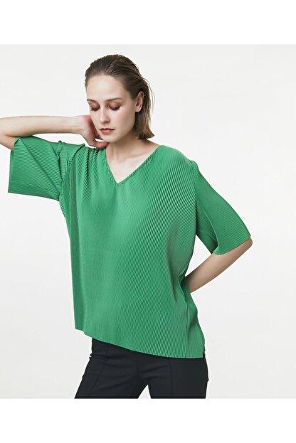 İpekyol Kadın Yeşil V Yaka Tshirt