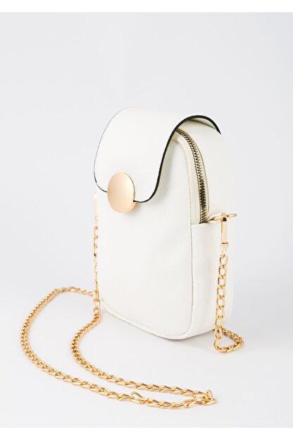 BAGzy Kadın Beyaz Telefon Bölmeli Gold Detaylı Omuz Çantası