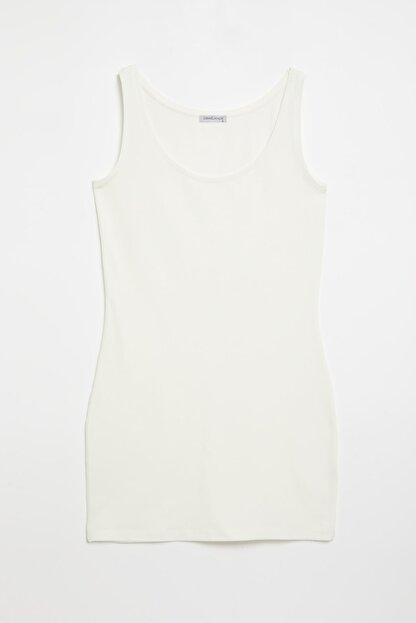 GRIMELANGE BELLA Kadın Beyaz Dar Kesim Uzun Kolsuz  T-Shirt