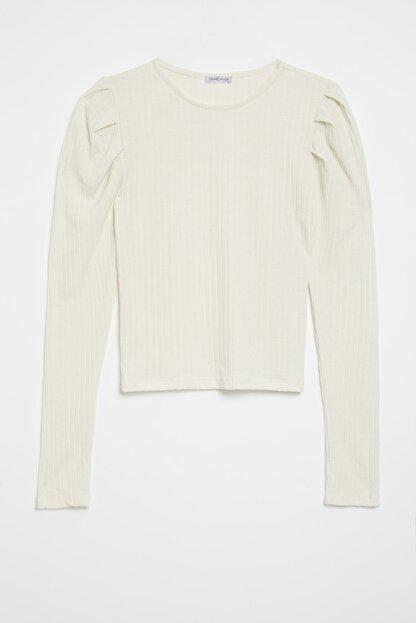 GRIMELANGE KIEV Kadın Beyaz Kolları Pileli Triko Görünümlü Uzun Kollu Bluz