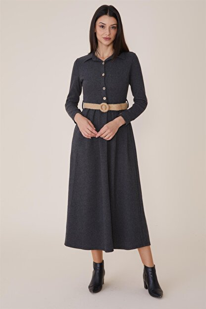 Nassah Kadın Antrasit Uzun Elbise MPU-9W5863