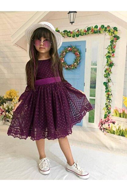 Buse&Eylül Bebe Mor Şapkalı Tüllü Güpür Detaylı Kız Çocuk Elbisesi