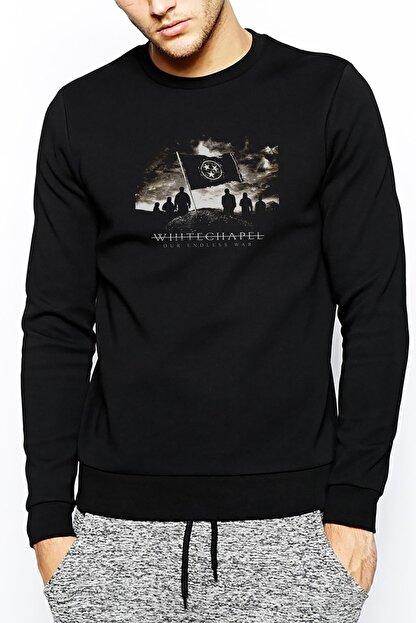 Collage Whitechapel Our Endless War Baskılı Siyah Erkek Örme Sweatshirt Uzun Kol