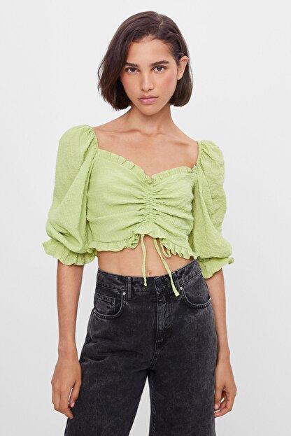 Bershka Kadın Lime Büzgülü Ve Karpuz Kollu Bluz
