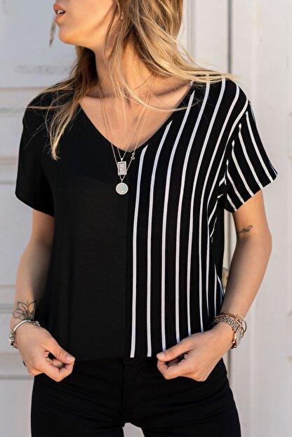 XHAN Kadın Siyah & Beyaz V Yaka Bluz 0yxk2-43360-02