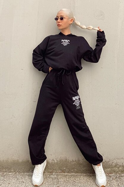 SwistLuxury Kadın Siyah Nasa Baskılı Kapüşonlu Yüksek Bel Eşofman Takımı