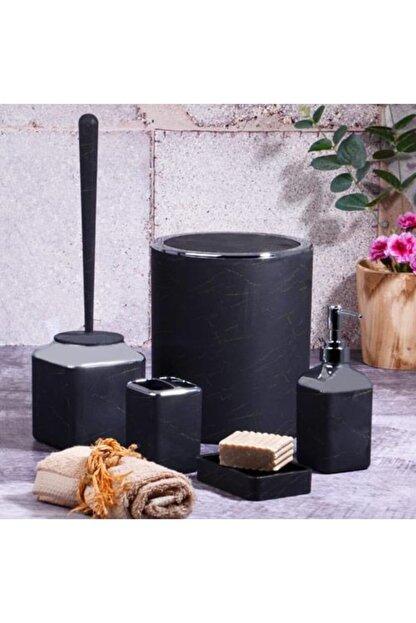 Kosova Siyah 5 Parça Mat Gold Mermer Banyo Seti Pby-250