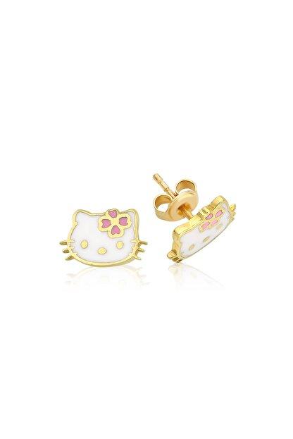Hello Kitty Lisanslı Kız Çocuk Pembe 14 Ayar Altın Küpe