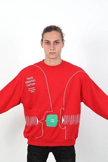 RANESA Unisex Kırmızı Oversize Sweatshirt