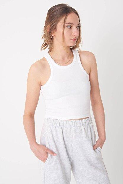 Addax Kadın Beyaz Fitilli Kısa Atlet A0942 - X2 Adx-0000022303