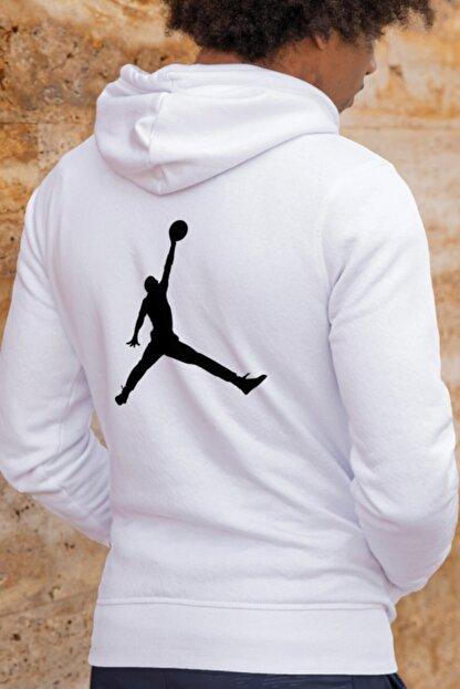 HEDİYELİMANİ Unisex Beyaz Air Jordan Kapüşon Sweatshirt Hoodie