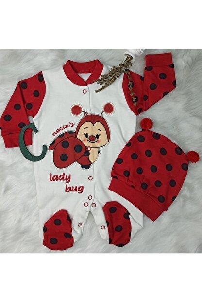 catciybu Unisex Bebek Kırmızı Necix Uğur Böceği Bereli Tulum 2168