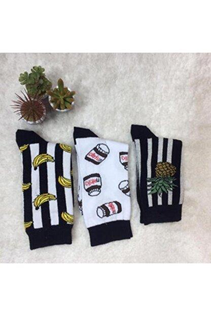 Adel Unisex Siyah Desenli Uzun Çorap 3lü
