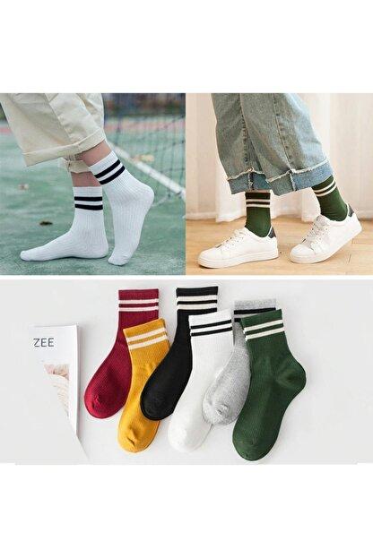 çorapmanya 6 Çift Unisex Karışık Renkli Çizgili Kolej Tenis Çorabı