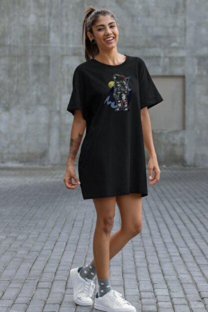 Angemiel Kadın Siyah  Wear Havalı Astronot  Pamuklu Tişört Elbise