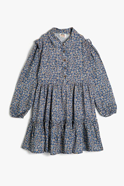 Koton Kız Çocuk Mavi Düğme Detayli Elbise