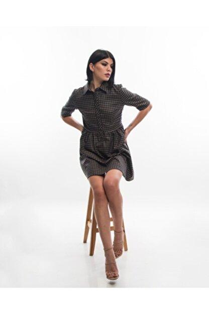 EPATAGE Kadın Bej Ekoseli Elbise