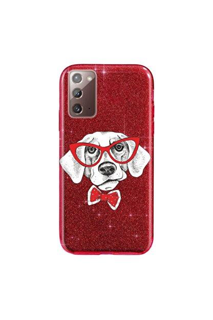 cupcase Samsung Galaxy Note 20 Kılıf Simli Parlak Kapak Kırmızı - Stok851 - Dog Reds