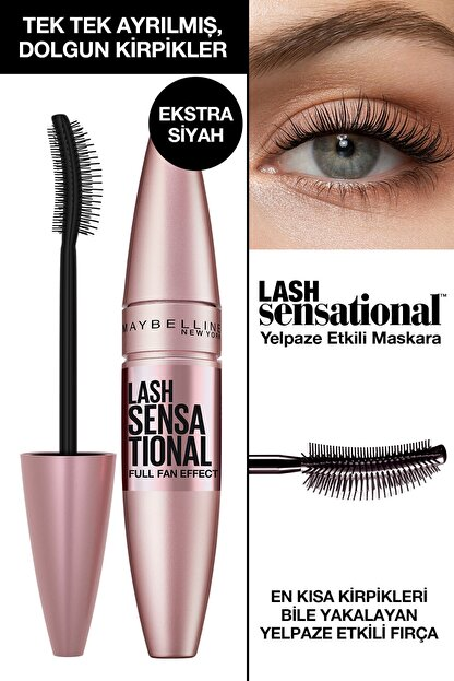 Maybelline Kıvrım Ve Hacim Etkili Ekstra Siyah Maskara - Lash Sensational Intense Black Mascara 3600531230906
