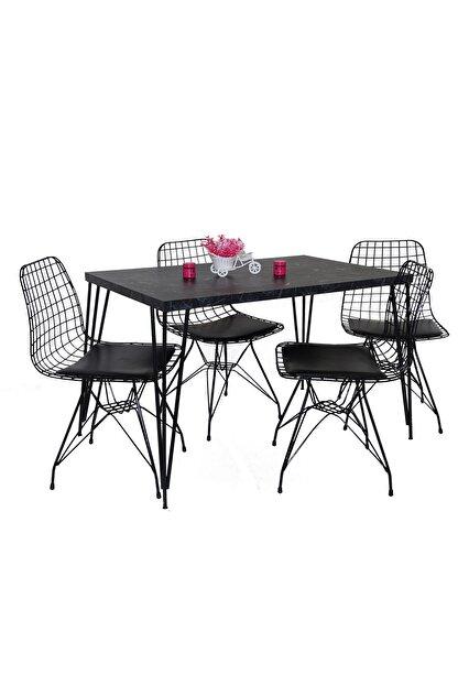 Hedef Yemek Masa Mutfak Masa Sandalye Takımı 4 Adet Tel Sandalye 1 Adet Masa
