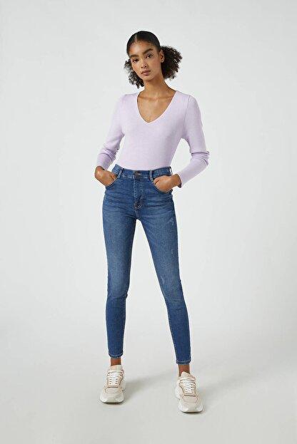 Pull & Bear Kadın Koyu Mavi Orta Bel Skinny Fit Jean 05682320