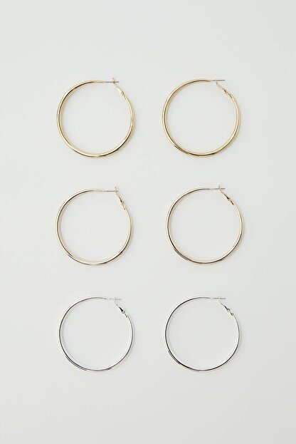 Pull & Bear Kadın Gümüş Karma Renkli Halka Küpe Seti 09996384