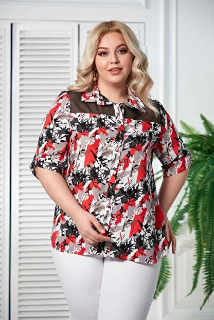 Rmg Kadın Mercan Kol Detaylı Büyük Beden Gömlek