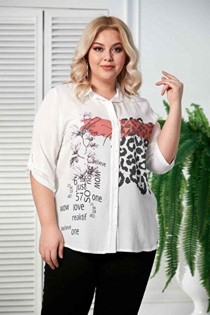 Rmg Kadın Ekru Desenli Kol Detaylı Büyük Beden Gömlek