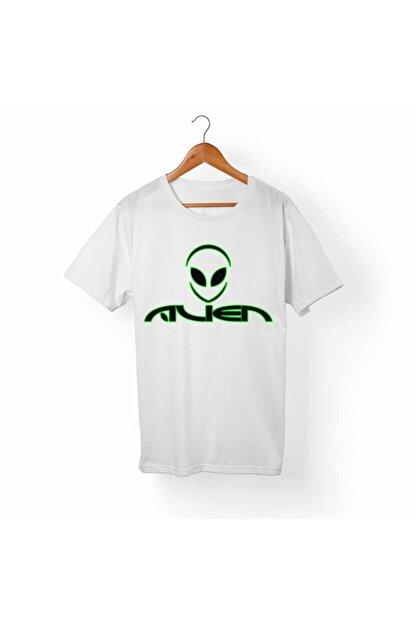 Alfa Tshirt Unisex Beyaz Alien Beyaz T-Shirt
