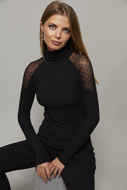 Cool & Sexy Kadın Siyah Omuzları Puantiyeli Tül Bluz EY1098