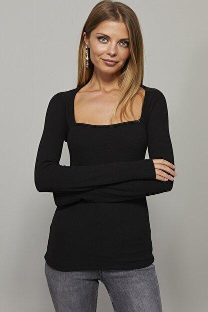 Cool & Sexy Kadın Siyah Kare Yaka Bluz EY1101
