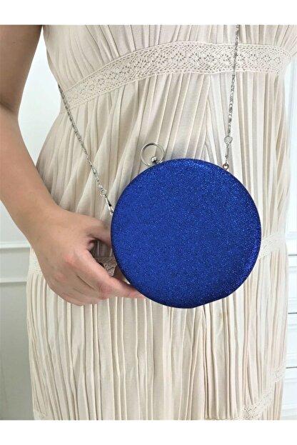 womenacs Kadın Lacivert Simli Taşlı İşlemeli Abiye Portföy Clutch Çanta