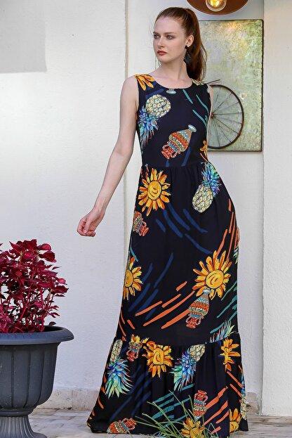 Chiccy Kadın Siyah Sıfır Yaka Ananas Desenli Astarlı Fermuarlı Dokuma Uzun Elbise M10160000El94772