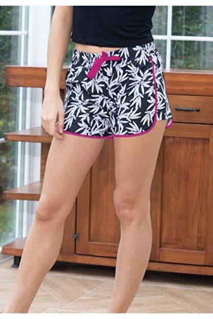JUST BASIC Kadın Siyah Beyaz Pembe Detaylı Yaprak Desenli Deniz Şortu