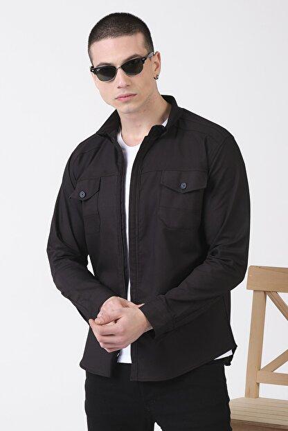 Giymoda Erkek Fermuarlı Regular Fit Denim Gömlek