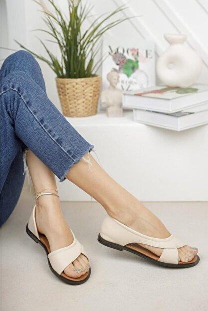 Moda Frato Kadın Krem Açık Sandalet Yazlık Ayakkabı Babet