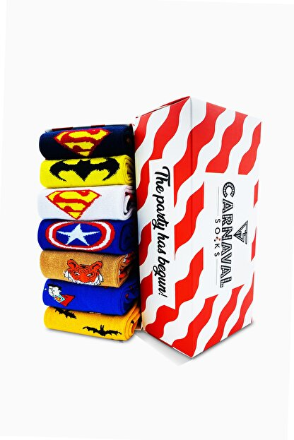 CARNAVAL SOCKS 7'li Marvel Karakter Renkli Çorap Set 1018
