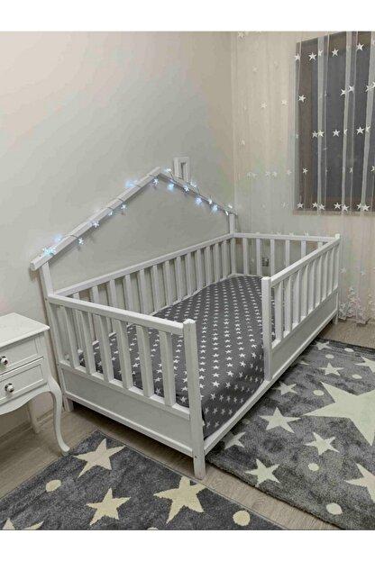 Baby Kinder Beyaz Doğal Ahşap Yatak Montessori Bebek ve Çocuk Karyolası