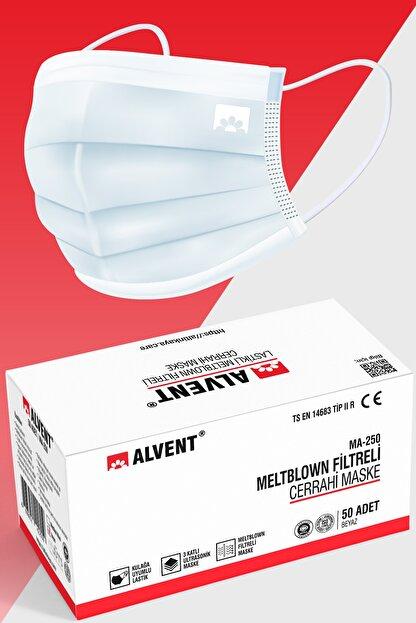 ALVENT Beyaz Elastik Kulaklı Meltblown Maske 50 Adet (TIP 2R) - En Az %98 Koruma - Ma-250
