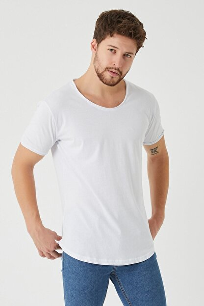 westkombin Erkek Beyaz Pis Yaka Basic  T-Shirt