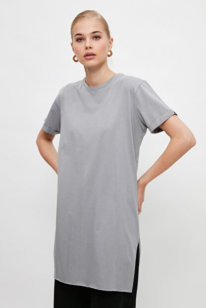 Trendyol Modest Gri  Tunik T-shirt TCTSS21TN0056