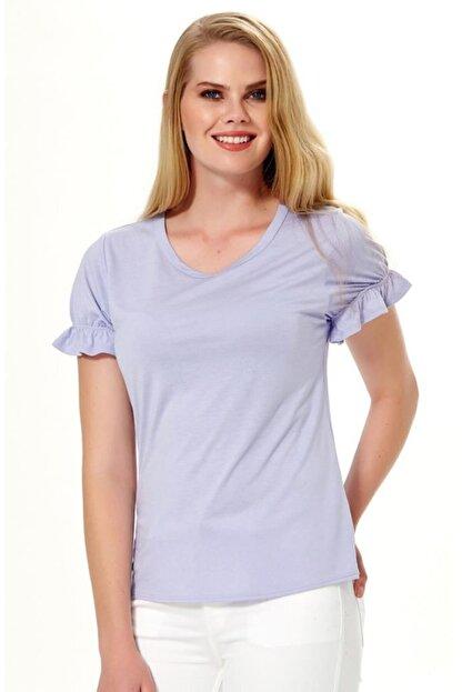 İkiler Kadın Koyu Lila Kısa Kol Kolu Lastikli Bluz 018-1205