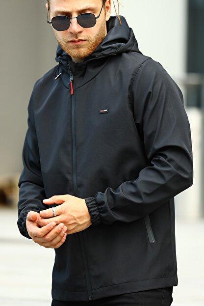River Club Erkek Siyah İçi Astarlı Suya Dayanıklı Kapüşonlu Cepli Yağmurluk - Rüzgarlık Ceket