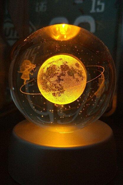 Patladı Gitti Satürnlü Kız Işıklı Cam Küre