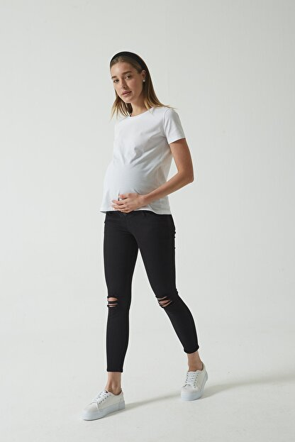 CROSS JEANS Siyah Beli Lastikli Skinny Fit Dizi Yıpratmalı Jean Hamile Pantolonu (İleri Dönem) C 4668-005